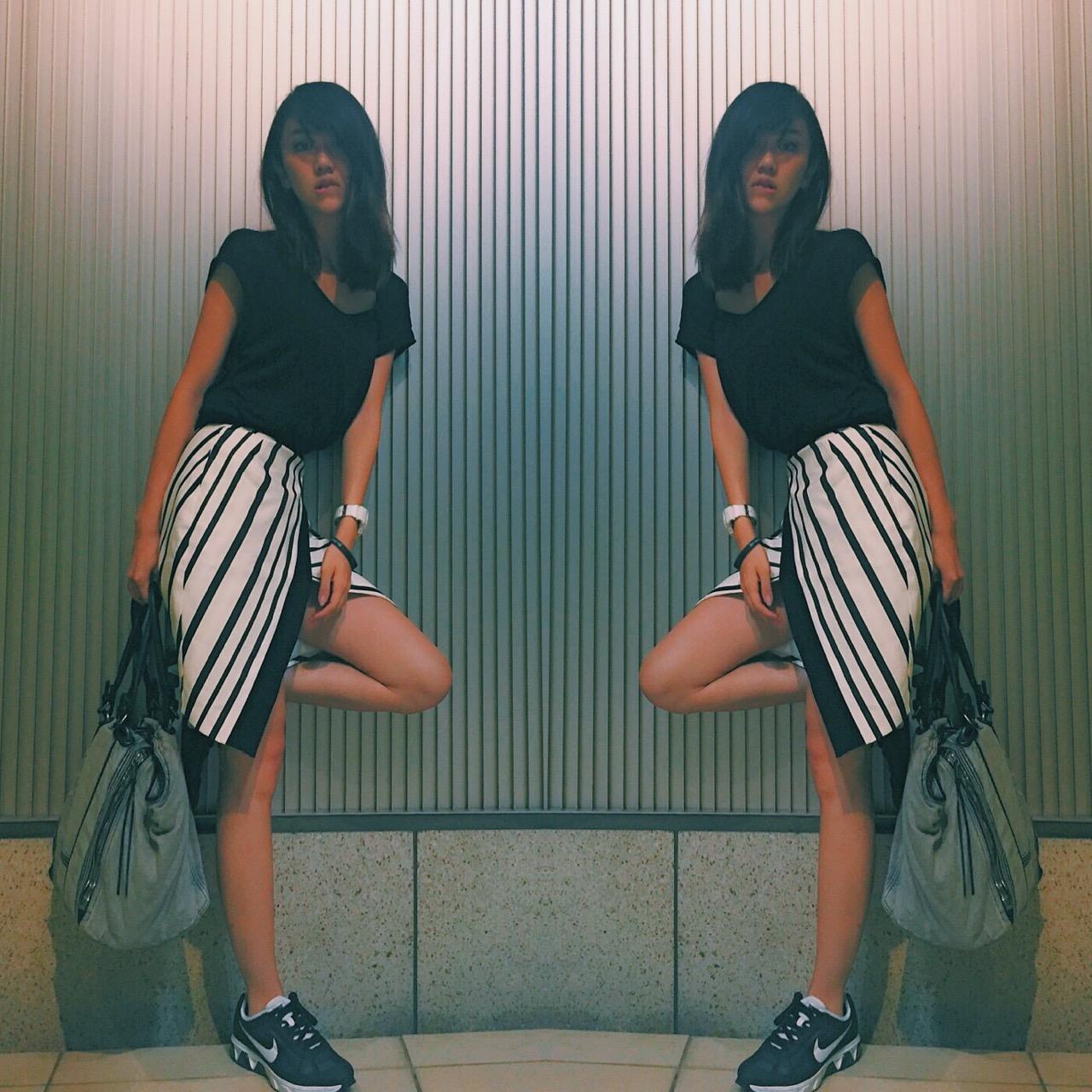 やっぱりモード×スポーツがお好き。ZARAのnewスカートでブラックコーデ!#ootd #outfit