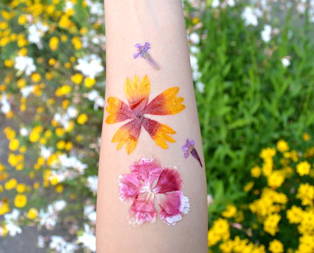 話題の押し花タトゥーを実際に実践 #Pressed flower Tattoo #DIY