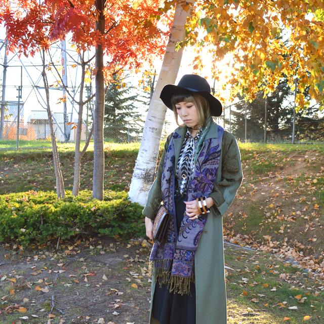 ロングコートとお気に入りのVintage小物で完成する秋スタイル #OOTD #Vintage