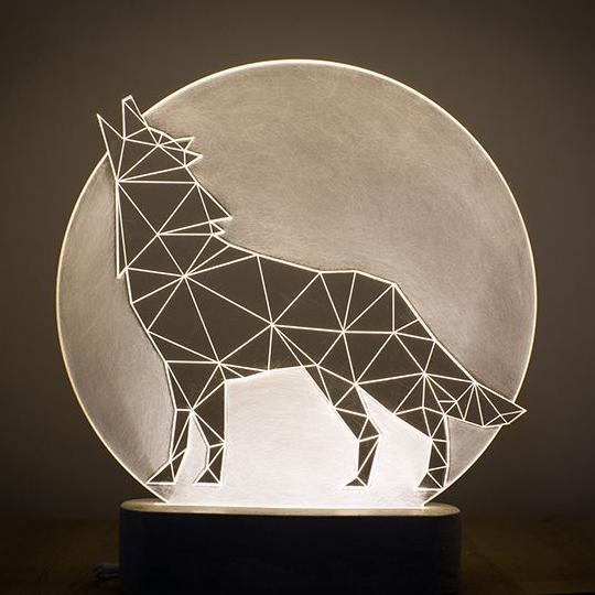 満月をバックに光る動物シルエットのランプ #lamp #fullmoon