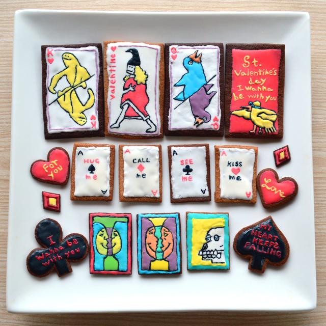 いよいよバレンタイン。トランプアイシングクッキーに挑戦 #valentine'sday