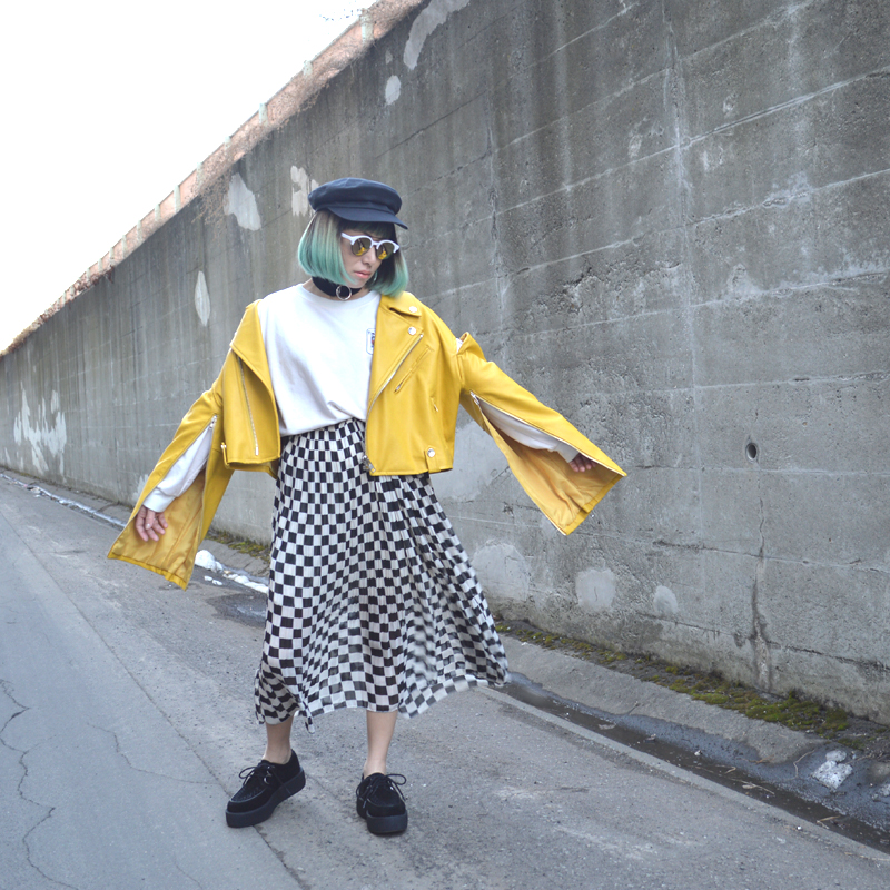 春色ライダースジャケットでスタイリング #OOTD