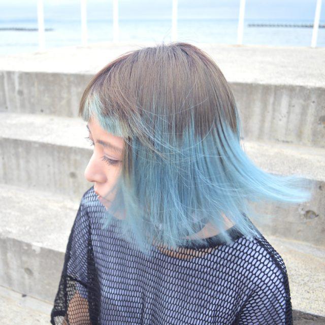 柔らかいグラデーション。夏のブラウンブルーヘア #bluehair