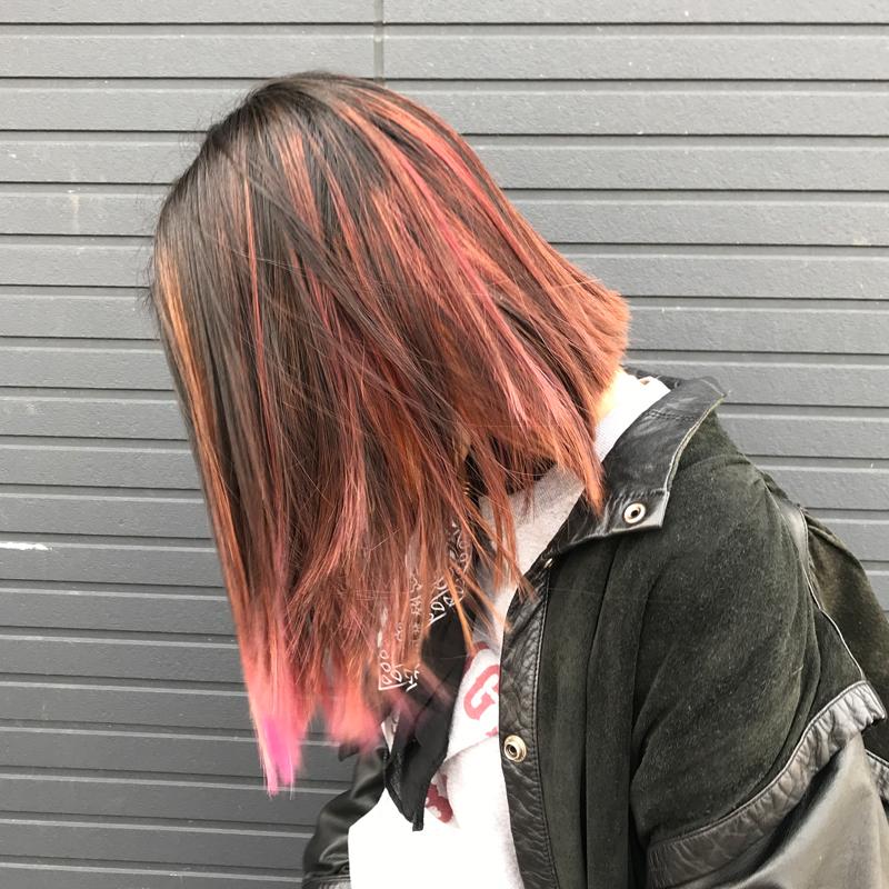 2019春のオレンジヘアカラー #バレイヤージュ