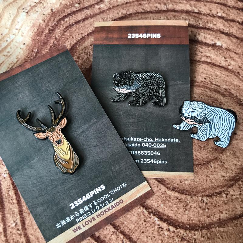 北海道のご当地お土産ピンバッジが可愛い #木彫りの熊 #北海道
