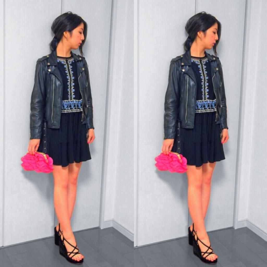アウターの王道ライダース×シースルートップスのレイヤードでちょこっとフォーマルなデート向け #OOTD を提案♥ #fashion