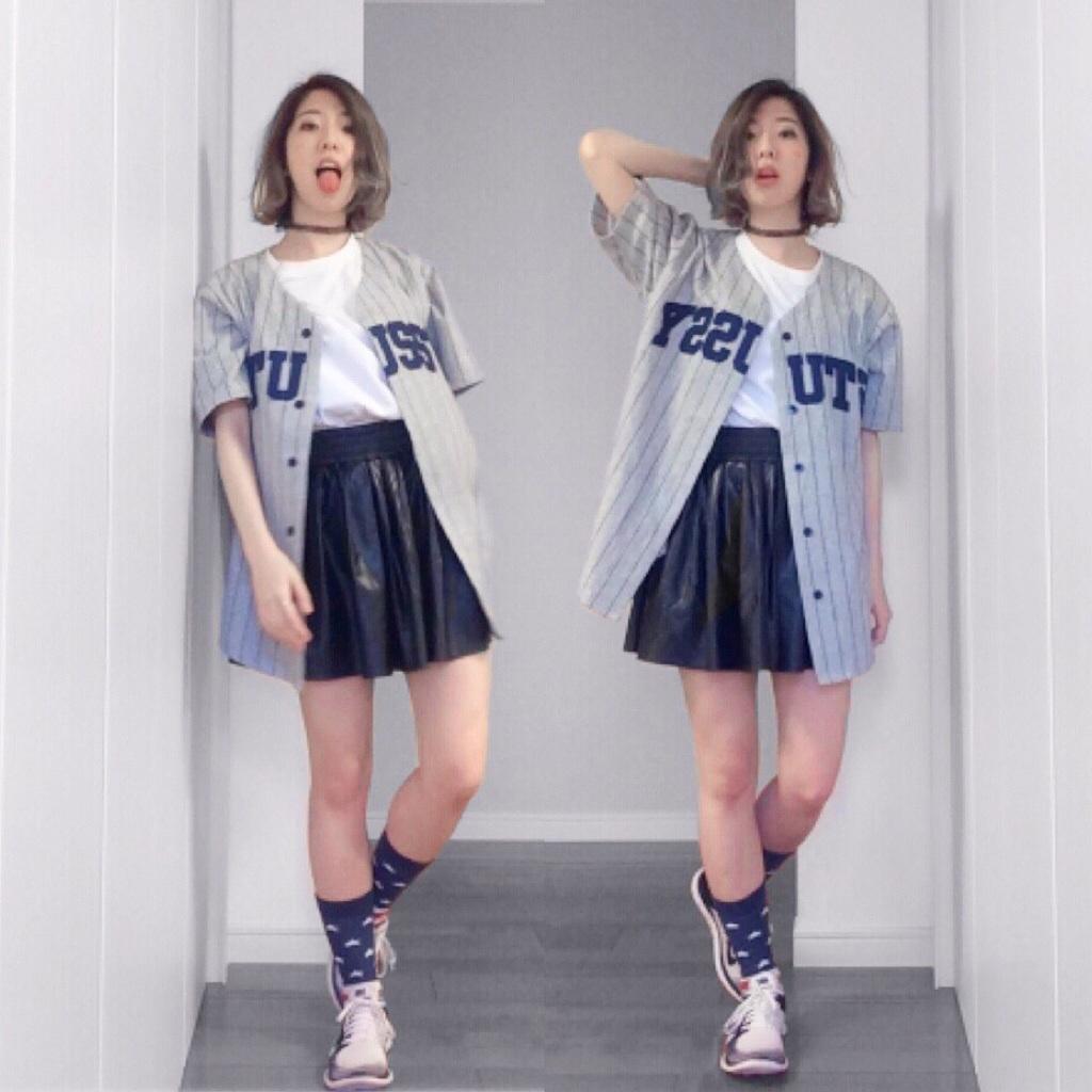 ボーイッシュなベースボールシャツの活用法は♡?ースカート編ー #STUSSY #OOTDQUEEN