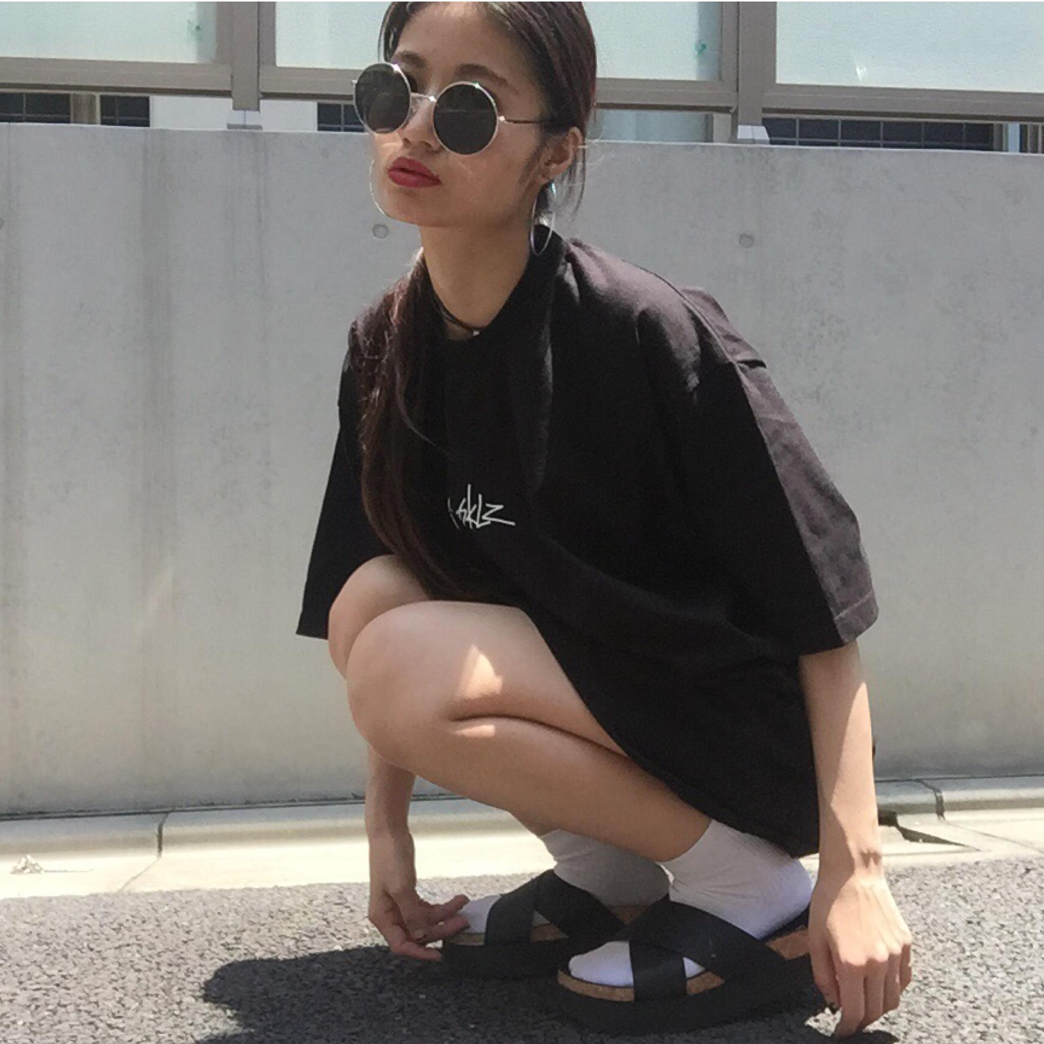 あえて、メンズXLサイズで、ゆるカワ女子♡着まわし必須アイテム#tシャツ#ガールズ
