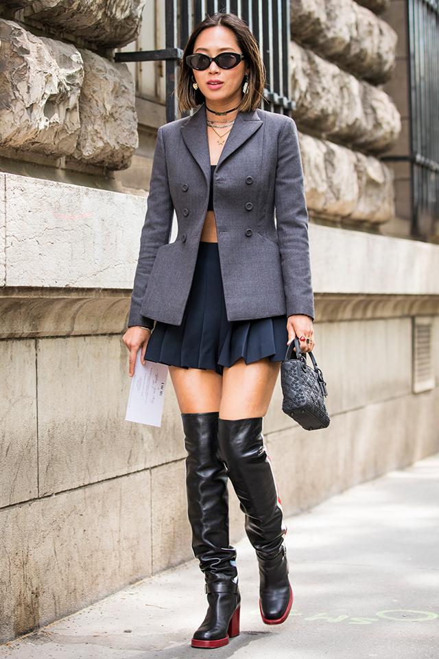 メリハリラインでスタイルアップが狙えるジャケットは、シャツ感覚で羽織りたい。シルエットの美しさを活かして、できる女風スタイルに仕上げて。コンパクトな小物使いも洗練された雰囲気を演出してくれる。