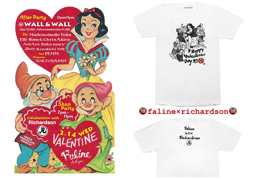 FALINETOKYOがバレンタインパーティにてRichardsonとの限定Tシャツを発売