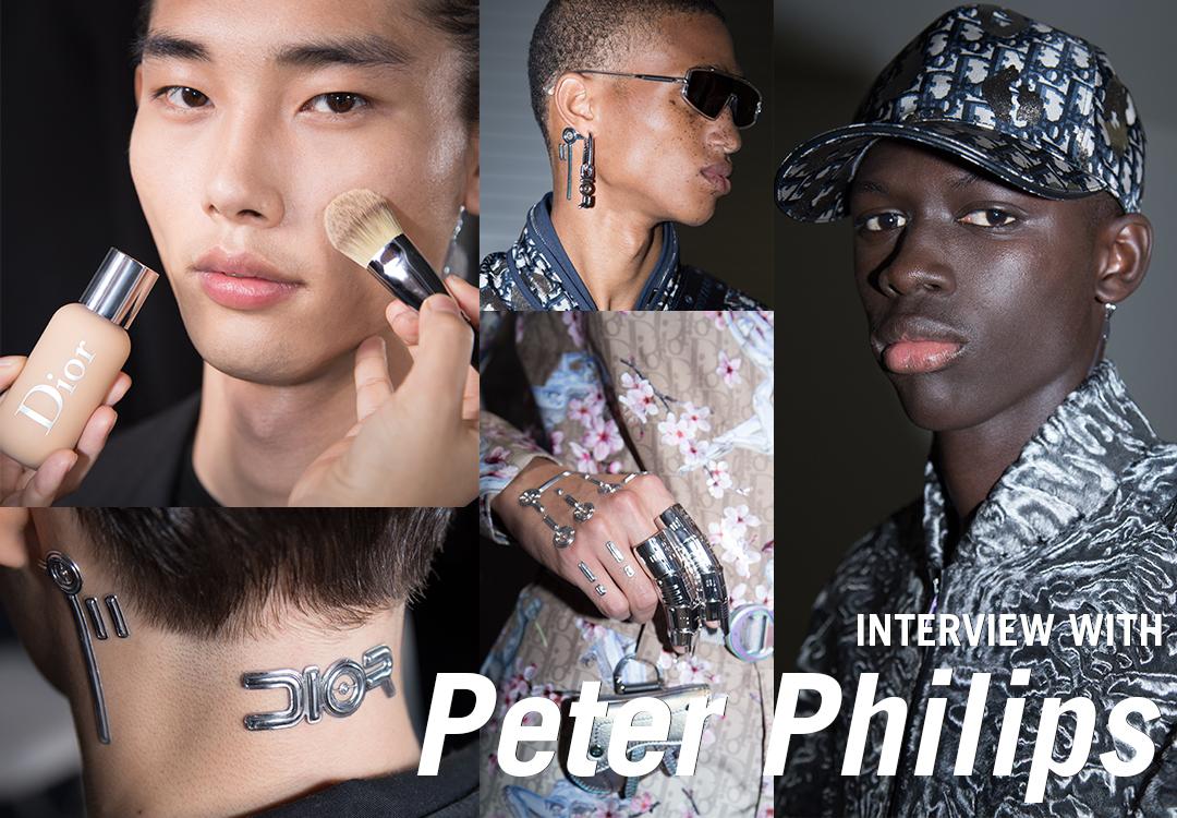 """DIOR メン 2019 プレフォール コレクション """"ロボットシック""""なメイクアップが際立つメンズメイクの真骨頂を 巨匠ピーター・フィリップスに特別インタビュー"""